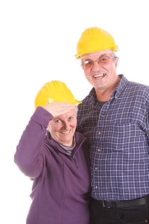 mature couple architects, studio photo photo