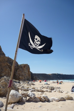 Flag of a Pirate skull and crossbones - Pirates Flag photo