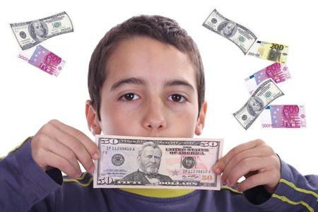 boy with dolares and euros, business studio photo Stock Photo - 13908834