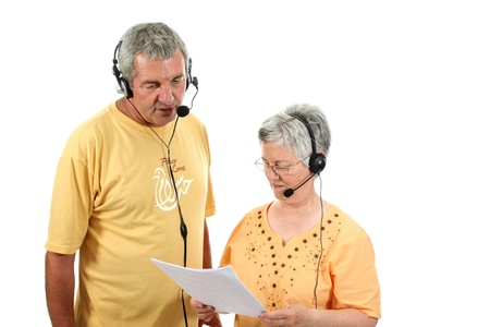 mature couple in a business call center photo