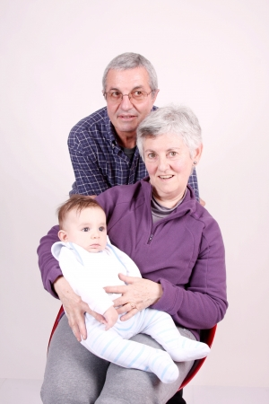 grandfather, grandmother with baby grandson photo