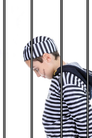 A view of a sad prisoner in jail  Stock Photo - 16064701