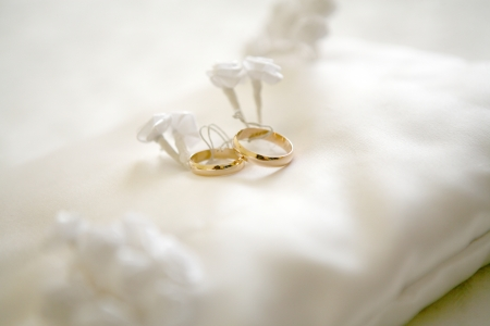 Two wedding rings with white flower in the background, wedding photo photo