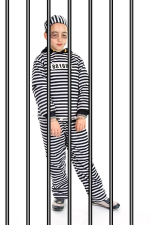 A view of a sad prisoner in jail  photo