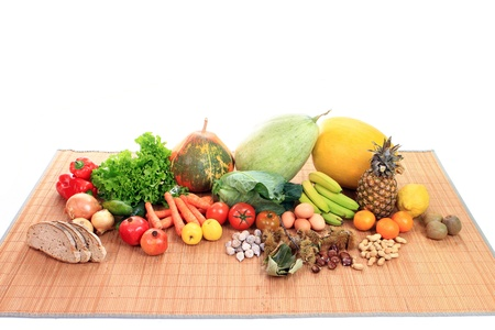 colorful collection of fruits and vegetables Stock Photo