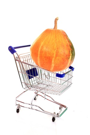 shopping cart with big pumpkin photo