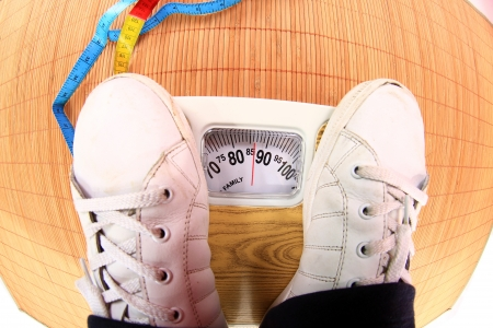 feet in the balance Stock Photo