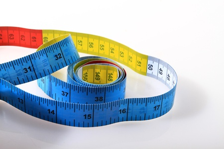 measuring-tape over white background