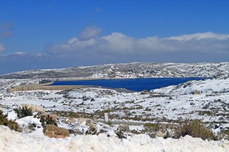 barrage snow mountain Stock Photo