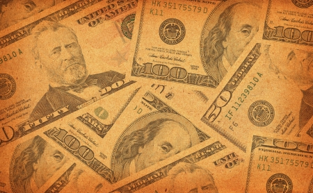 old dollar bills vintage background Stock Photo