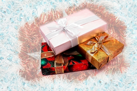 beautiful christmas presents on white background