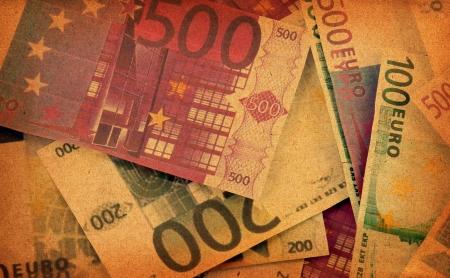 old euro bills background Stock Photo