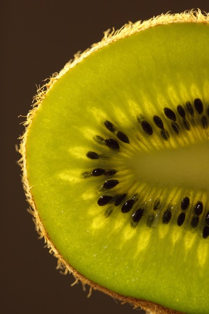 slice of kiwi, photographed in close-up