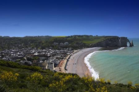Beach with cliff Falaise dAval Etretat. Normandy, Cote dAlbatre, France.  photo