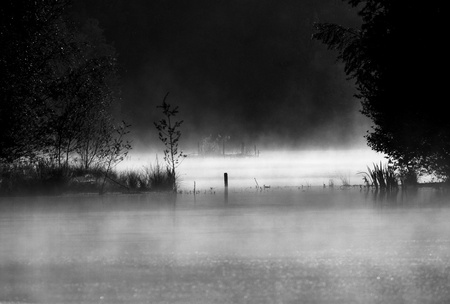 black and white landscape of a small lake in the morning mist Stock Photo - 10767474