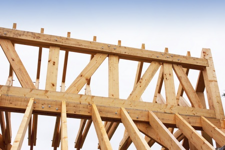 construction of the wooden frame of a roof