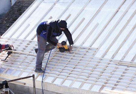 고치다: roofer 나무에 새 지붕 작업 에디토리얼