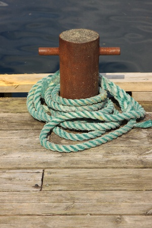 Rope for mooring a boat to a pier photo