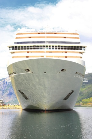 cruise ship in the port of Flaam, Aurlandsfjord, Sognefjord photo