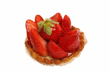 a tart strawberry on a white background photo