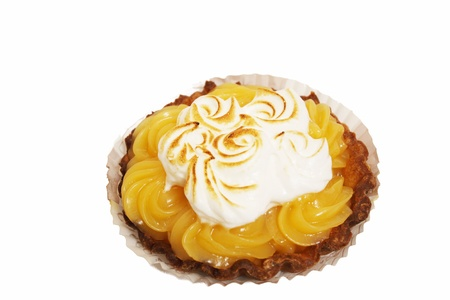 lemon tart with whipped cream on a white background Stock Photo - 12020115