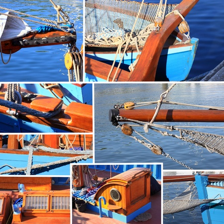 mixed collage of details of an old sailboat photo