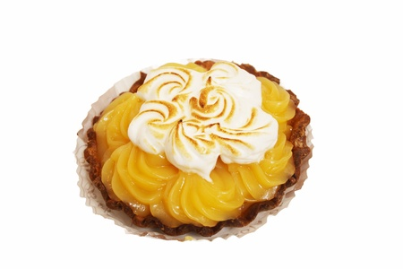 lemon tart with whipped cream on a white background Stock Photo - 12071475