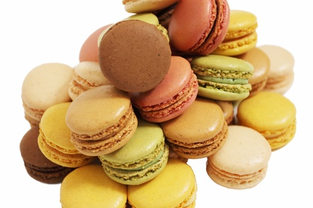 assortment of macaroons on a white background photo
