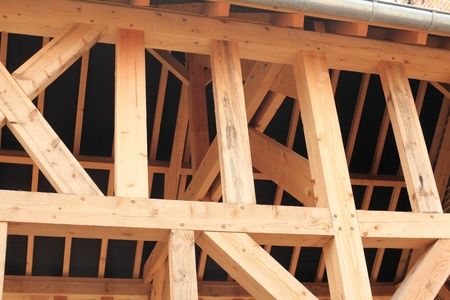 wood frame of a house under construction Banque d'images