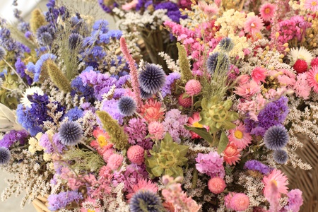 bouquet of dried flowers of all colors