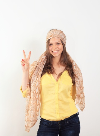 beautiful young smiling woman with a scarf hippie Stock Photo - 14013953
