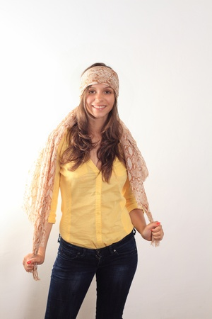 beautiful young smiling woman with a scarf hippie Stock Photo - 14204124
