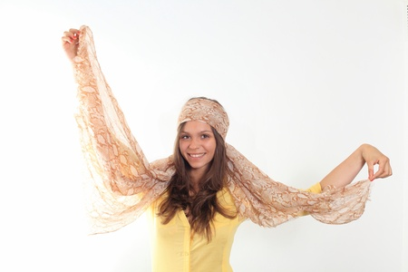 beautiful young smiling woman with a scarf hippie photo