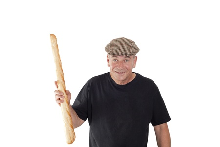 French man with a cap and French bread Stock Photo - 15692538