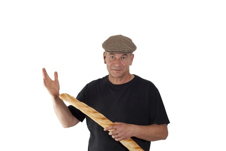 French man with a cap and French bread Stock Photo - 15692537