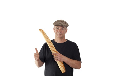 French man with a cap and French bread photo