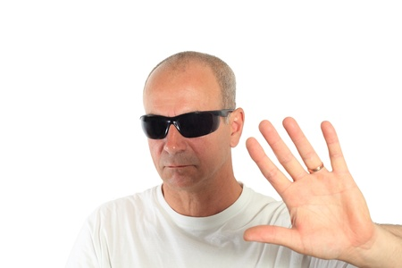 man with sunglasses making a sign Stock Photo - 15892099
