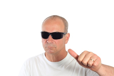 man with sunglasses making a sign Stock Photo - 15892096