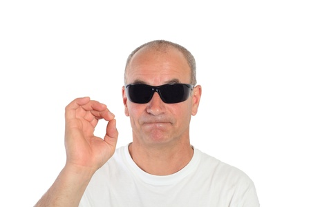 man with sunglasses making a sign Stock Photo - 15892095