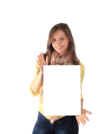 Portrait of a happy young woman holding a blank billboard over white background photo