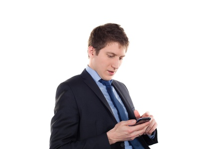 young businessman with smartphone on a white background photo