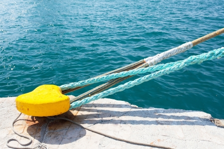 bollard and mooring ropes