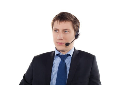 Man with telephone headset on her head on a white background photo