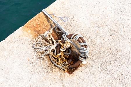 bollard: bollard and mooring ropes