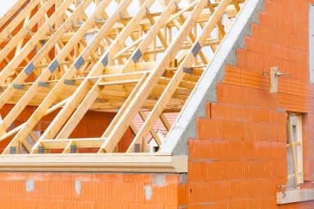 bakstenen huis in aanbouw Stockfoto