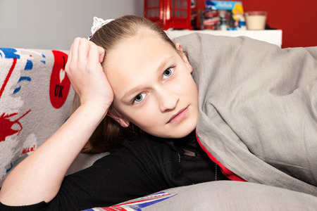 english girl: English girl in a bed Stock Photo