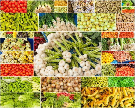 collection of images from vegetable farmers market Stock Photo