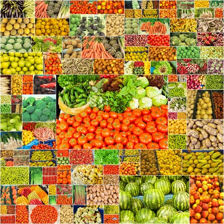 collage of vegetables and fruits photo