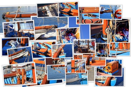 photo collage of details from an old sailboat photo