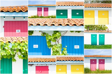 fishermens: collage of colored fishermens house